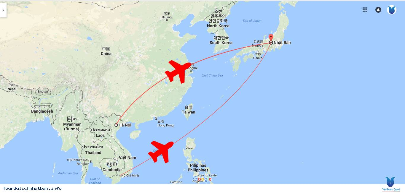 Khoảng cách từ Việt Nam đến Nhật Bản là bao xa?